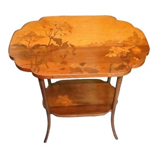 Antique Signed Emile Galle' Art Nouveau Inlaid Wood Marquetry 2-Tier Side Table For Sale