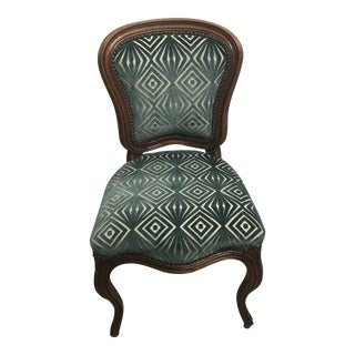 Antique French Cut Velvet Upholstered Side Chair