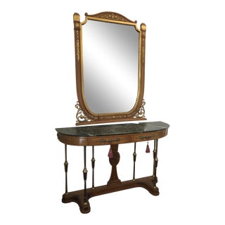 1950s Art Nouveau Foyer Console and Mirror -2 Pieces For Sale