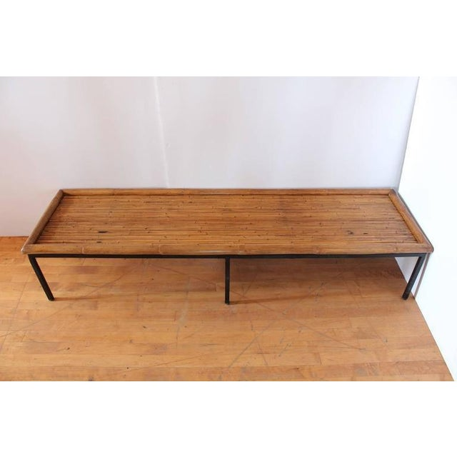 Mid-Century Modern Vintage Mid Century Bamboo & Iron Coffee Table For Sale - Image 3 of 3