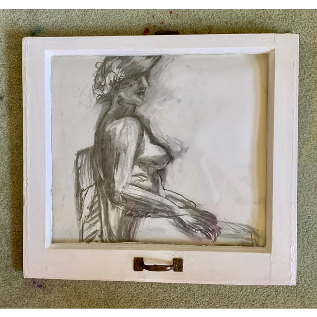 """Figurative """"Lady in the Window"""" Contemporary Figurative Charcoal Drawing, Framed For Sale - Image 3 of 3"""