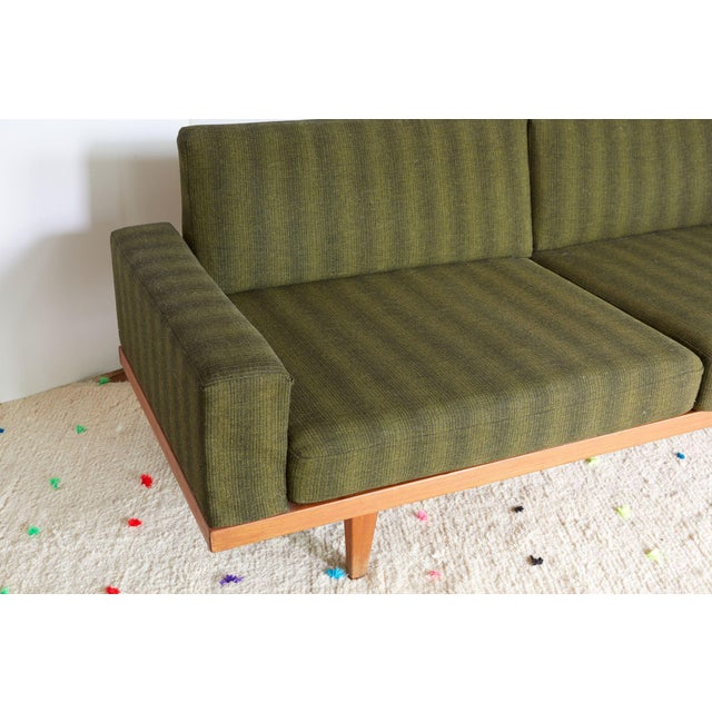 Vintage Danish Modern Green Striped Wool Couch - Image 7 of 9