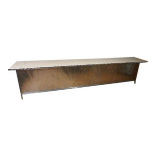 Counter 12.5 Feet From Drug Store, Dairy Bar With Aluminum Starburst Facade, Linoleum Top, Steel Frame, Circa 1930s. For Sale