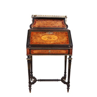 French Empire Style Galleried Marquetry Writing Desk