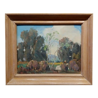 1950s Impressionist Oil Painting by Walt Lee, Eucalyptus Trees in La Crescenta-California For Sale