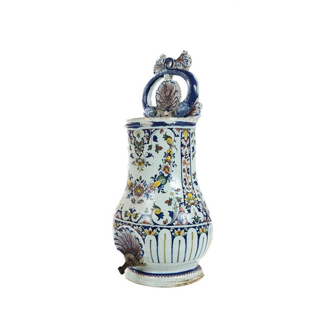 White 19th Century Antique Wall Pocket Enamel Fountain For Sale - Image 8 of 9