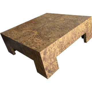 1970s Baughman Style Burl Effect Coffee Table For Sale