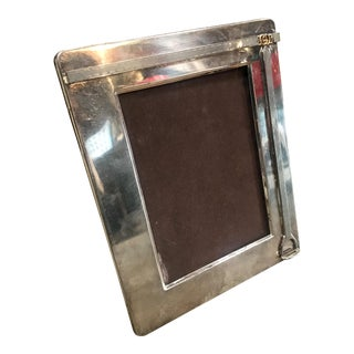 1970s Vintage Silver Plate Brass Stirrup Double G Picture Frame For Sale