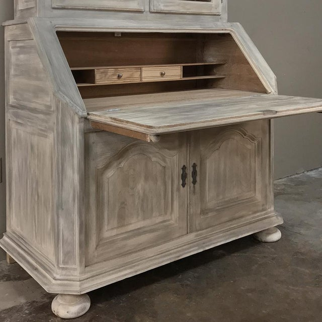 Early 20th Century Rustic Antique Country French Whitewashed Secretary ~ Bookcase For Sale - Image 5 of 13