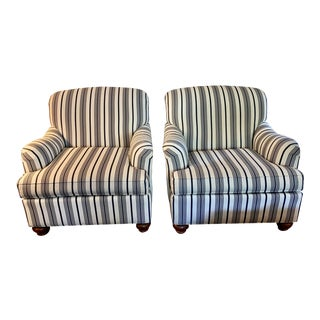 Classic Navy/White Striped Club Chairs - a Pair For Sale