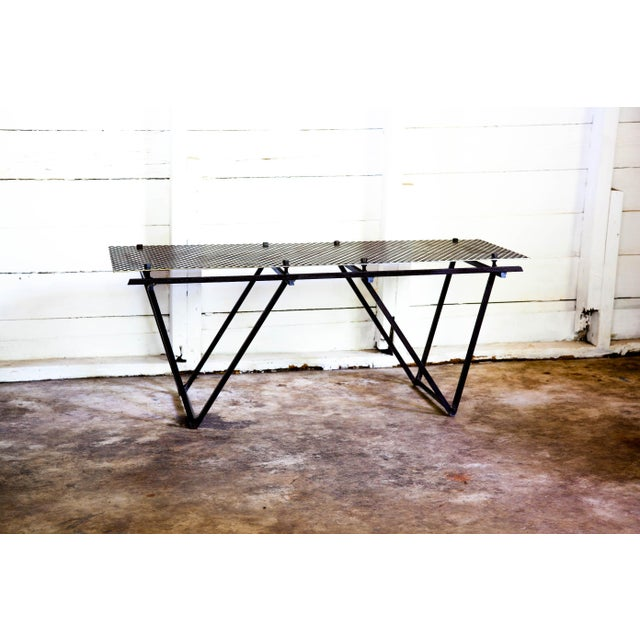 Artisan Made Perforated Metal Modernist Coffee Table Bed Entry Bench Tv Media Stand For Sale - Image 10 of 10