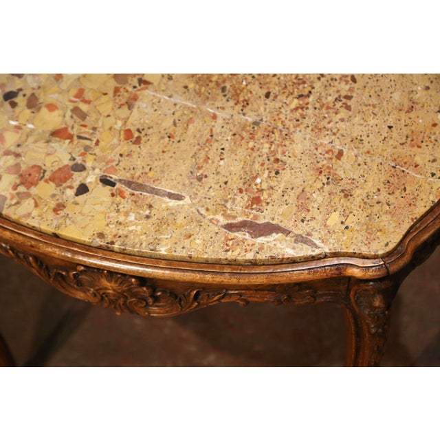 19th Century French Louis XV Carved Oak Side Table With Beige Marble Top For Sale - Image 12 of 13