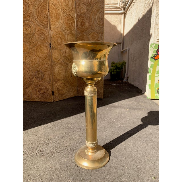 Vintage Solid Brass Champagne Bucket and Stand For Sale In Los Angeles - Image 6 of 6
