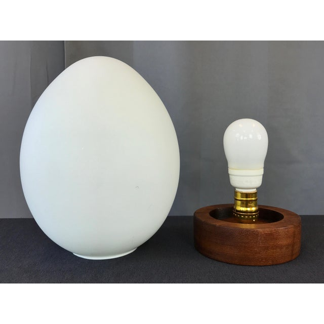 "Wood French Mid-Century Vianne Glass ""Egg"" Lamp For Sale - Image 7 of 9"