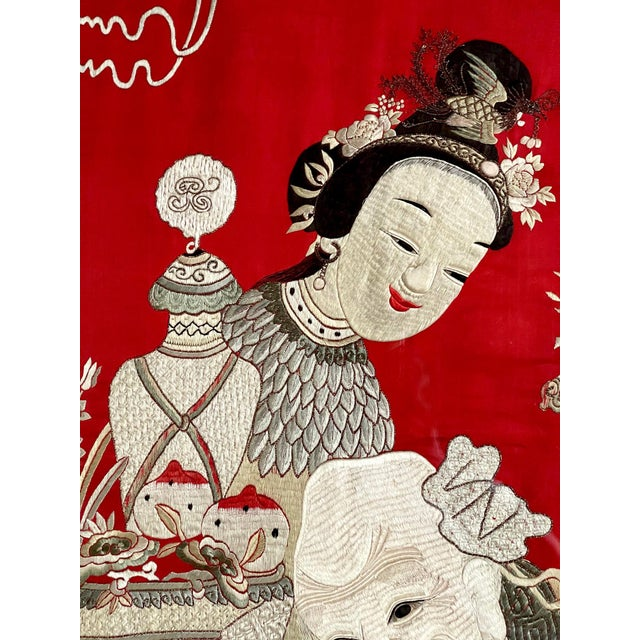 Framed Chinese Embroidery Panel of Longevity Deities For Sale - Image 11 of 13