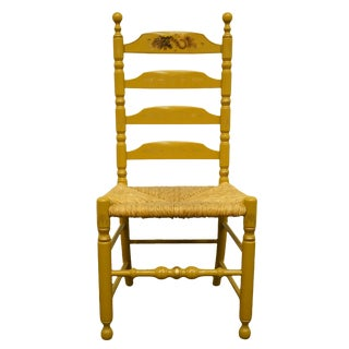 Late 20th Century Hitchcock Stenciled Ladder Back Accent Side Chair For Sale