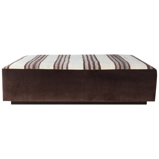 Upholstered Ottoman in Vintage Striped Navajo Rug For Sale