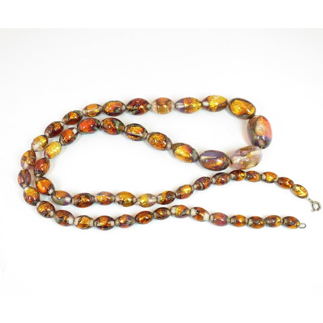 Venetian Fire Opal Foiled Glass Bead Necklace 1950s For Sale - Image 4 of 13
