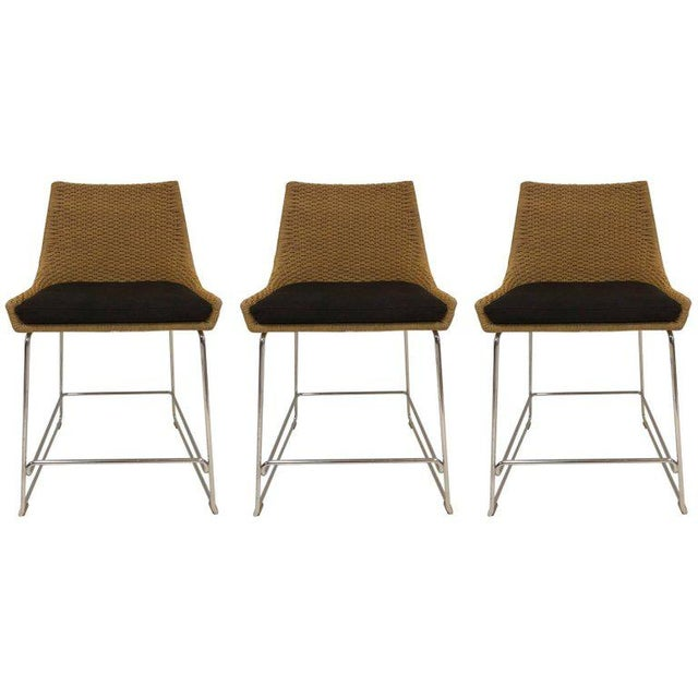 Set of Three McGuire Rope Stools For Sale In New York - Image 6 of 6
