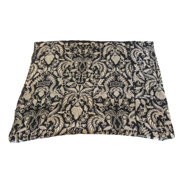 Black & Gold French Silk Damask Throw - Image 1 of 9