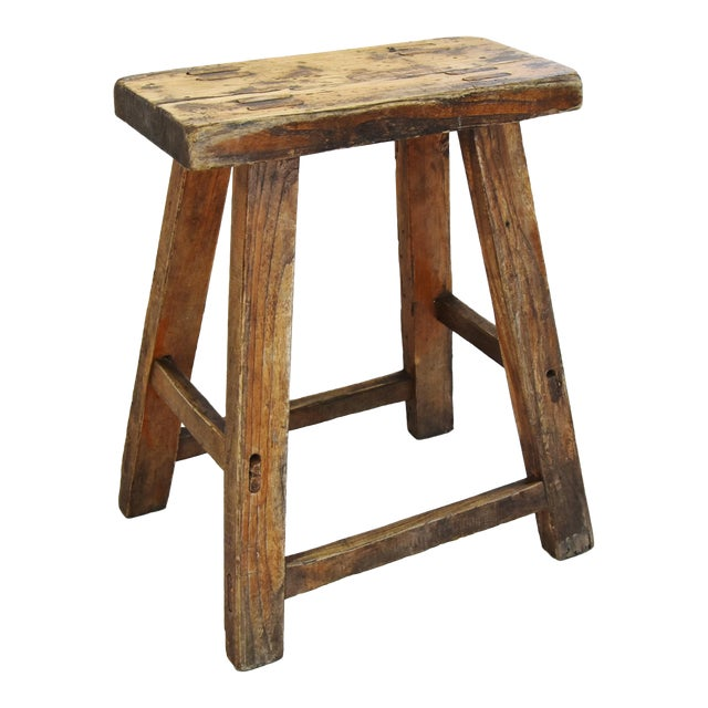 Rustic Primitive Country Wood Farmhouse Stool For Sale