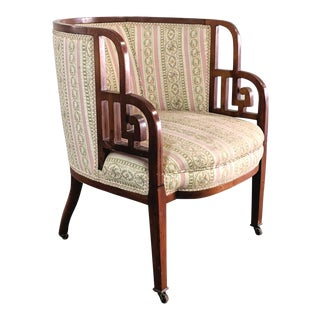 Antique Art Deco Cherry Wood Lattice Arm Accent Chair For Sale
