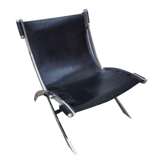 Mid Century Modern Antonio Citterio for Flexform Chrome and Leather Lounge Chair For Sale