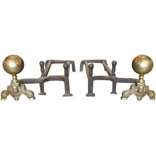 Brass 19th Century Double-Arm Andirons - A Pair For Sale - Image 7 of 7
