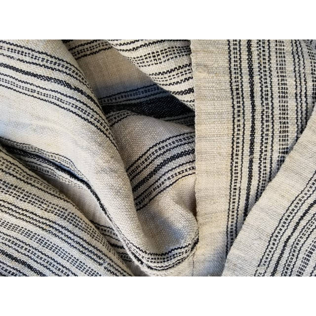 Asian Hand Spun Black Stripe Linen Throw For Sale - Image 3 of 7