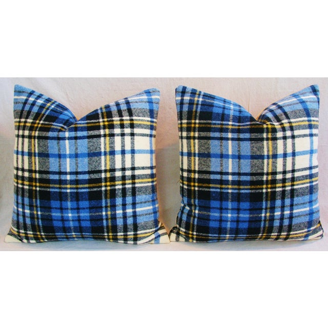 """Vintage Scottish Tartan Plaid Wool Feather/Down Pillows 24"""" Square - Pair For Sale - Image 10 of 11"""