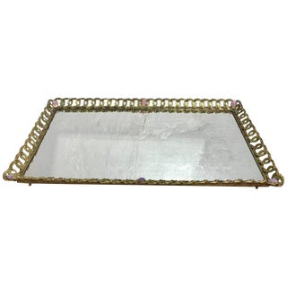 Large French Gilt Bronze and Jeweled Plateau For Sale