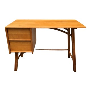 1950s Heywood Wakefield Ashcraft Line Writing Desk, Ash & Bamboo Mid-Century Desk For Sale