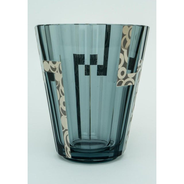 Blue 1920s Art Deco Crystal Vase With Silver Overlay For Sale - Image 8 of 9