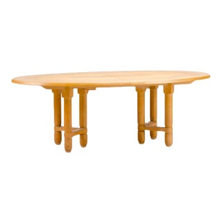 1960s Guillerme Et Chambron Solid Oak Extendable Dining Room Table For Sale