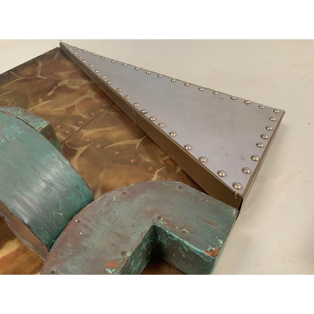 Gold 1970s 'Untitled' Wall Mounted Sculpture in Copper and Brass For Sale - Image 8 of 9