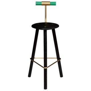 Erickson Aesthetics Charred Ash Tripod Stool with Backrest For Sale