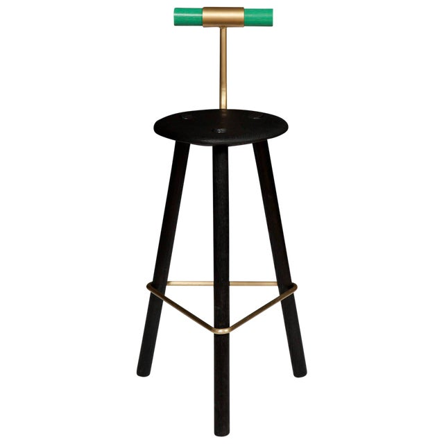 Erickson Aesthetics Charred Ash Tripod Stool with Backrest For Sale