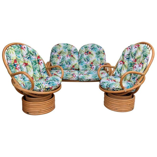 Italian Mid-Century Modern Bamboo Set of Lounge Patio With Settee and Rocking For Sale - Image 11 of 11
