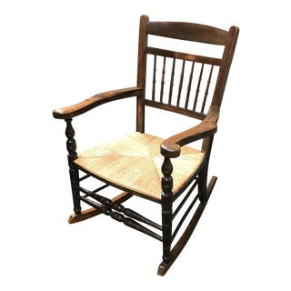 Vintage Rocker With Rush Seating
