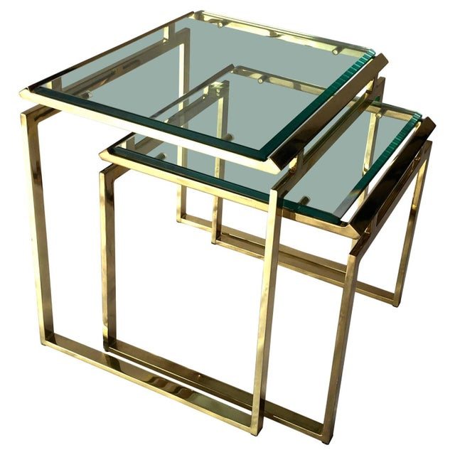 Mid-Century Brass & Glass Nesting Tables - A Pair - Image 1 of 10