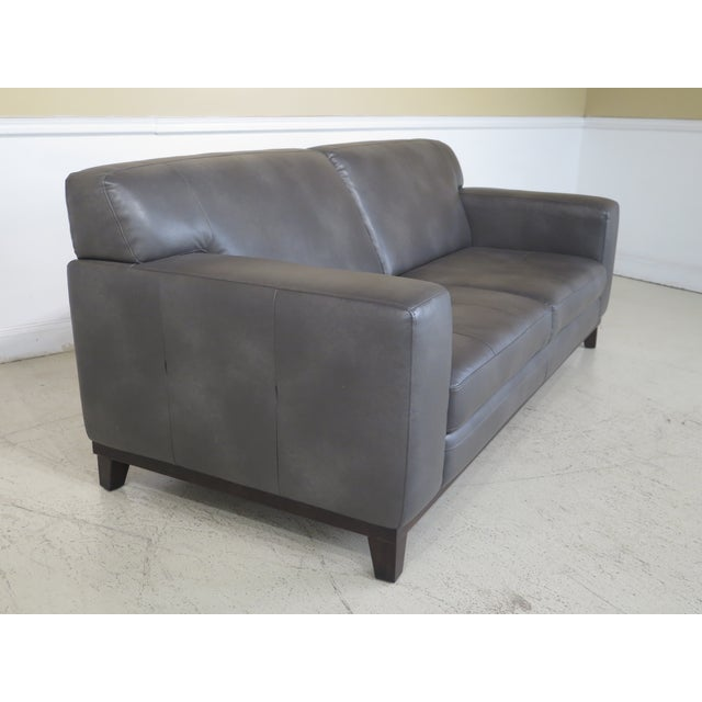 Modern Grey Leather 2 Cushion Sofa For Sale In Philadelphia - Image 6 of 11