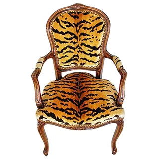 1940s Italian Scalamandre Le Tigre Velvet Armchair For Sale