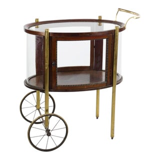 1960s Vintage Hollywood Regency Style Mahogany and Brass Tea Cart For Sale