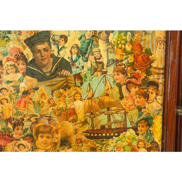 3-Paneled Victorian Decoupaged Room Divider Screen For Sale - Image 4 of 7
