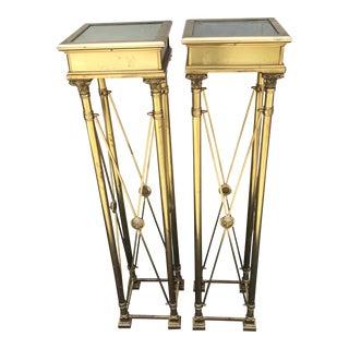 Italian Brass Lion Motif Pedestals - a Pair