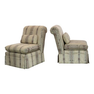 Striped Roll Back Slipper Chairs - A Pair For Sale