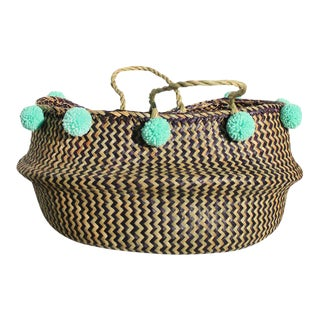 Borneo Super Wide Zig-Zag Belly Basket - With Mint Pom-Poms