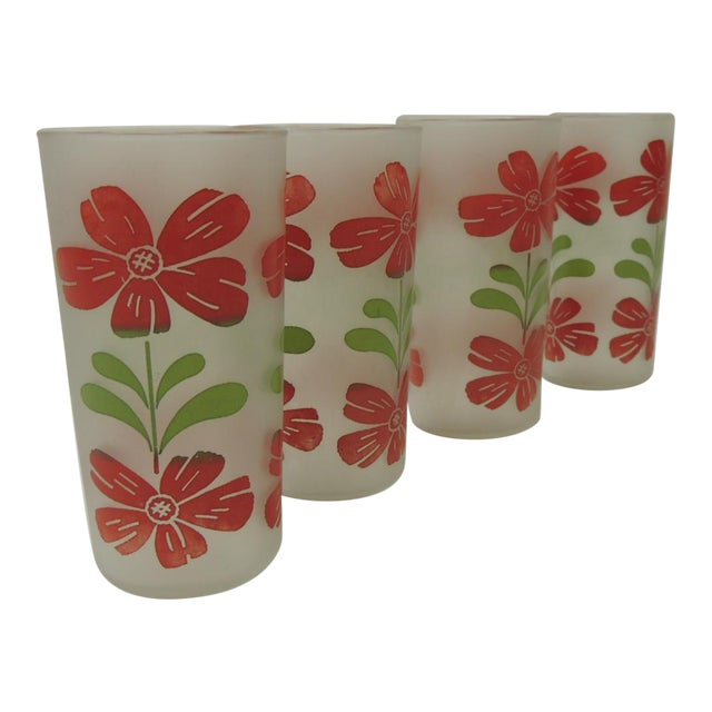 Vintage Festive Floral Hand Painted Set of Four Glasses With Floral Motifs For Sale