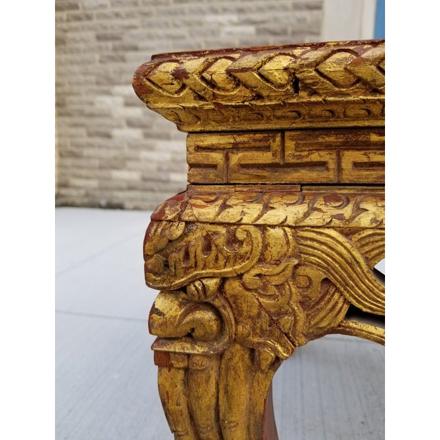 Rosewood Antique Chinese Gilt Carved Wood Kang Table For Sale - Image 7 of 13