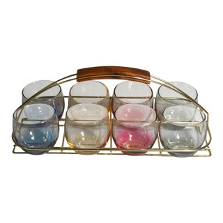 Set of Mid-Century Modern Highball Cocktail Rainbow Color Glasses in Teak and Gold Caddy Holder For Sale